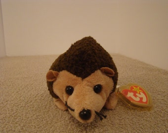 """Ty Beanie Baby PRICKLES Brown Hedgehog 6"""""""
