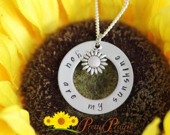 You are My Sunshine Personalized Necklace - Hand Stamped Sun Jewelry - Daughter Necklace - Custom Sunshine Silver Necklace - Girlfriend Gift