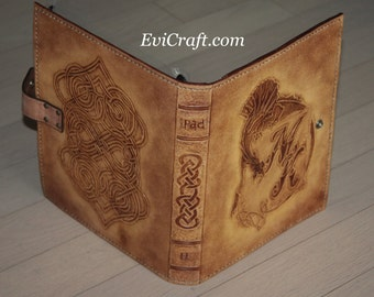 iPad book case in Celtic style with monogram and Dragon, unique gift, iPAD leather cover, personalised gift for gentleman, hand tooled case