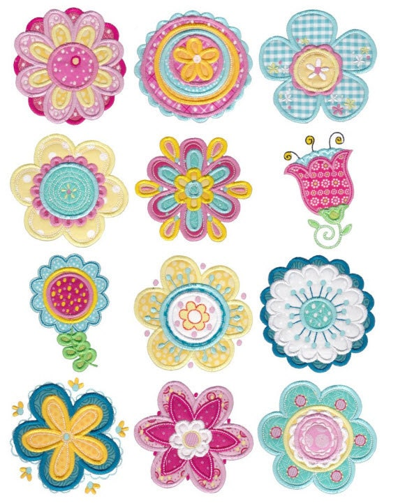 Cute flower applique machine embroidery designs