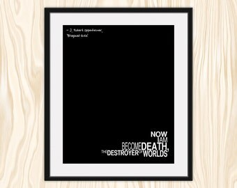 BHAGAVAD GITA QUOTE Typography Print, J. Robert Oppenheimer Hindu Quote, Black and White Minimalist Fine Art Print Poster