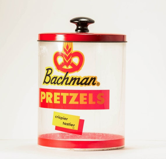 Vintage 1950s Bachman Pretzels Advertising Tin Store Container