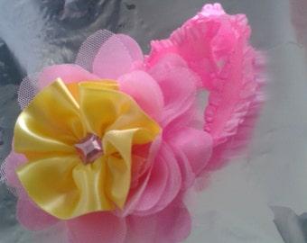 pink and yellow baby headband, pink baby headband, yellow baby headband, pretty baby headband, infant headband, flower baby headband, photo