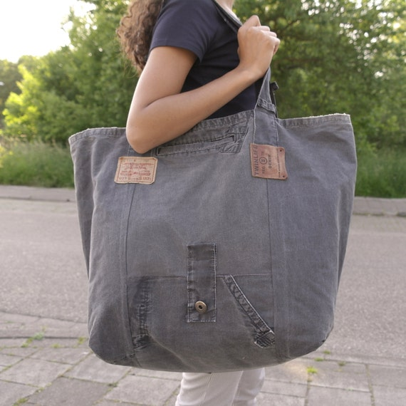 XXL tote beach bag recycled dark grey canvas jeans large