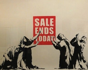 BANKSY ~ Sale Ends Today STRETCHED & FRAMED Canvas Art Print