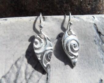 Fine Silver Swirl Earrings with Sterling Silver Earhook