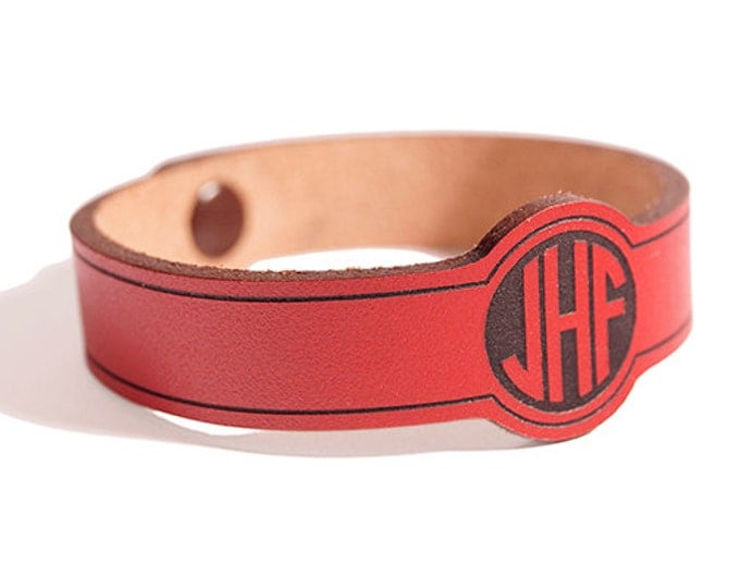 MONOGRAM WRISTBAND - Personalized Leather Bracelet - Custom Initial Cuff - Fathers Day Gift - Laser Engraved