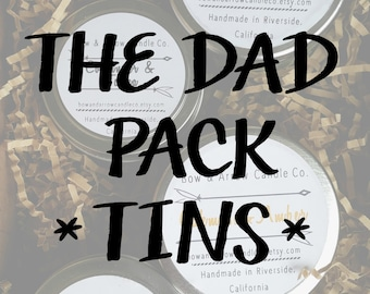 The Dad Pack 4 oz Tins | Masculine Candles | Soy Candles | Father's Day Gift | Man Candles | Masculine Scented | Gift Idea | Scented Candles