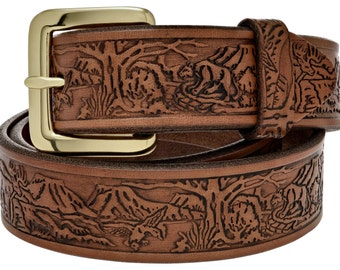 "Full Grain Leather 1-1/4"" Wildlife Embossed Natural Belt. Handcrafted in the USA  (#2801)"