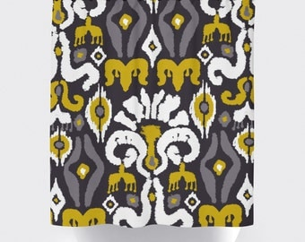 gray and mustard yellow fabric shower curtain, aztec shower curtain, modern fabric shower curtain yellow and gray and white