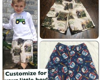 Boys shorts, shorts for little boys, custom shorts, boys cargo shorts character, custom boys shorts, handmade boys clothes,