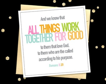 Encouragement card Romans 8:28 quote greeting card Christian card