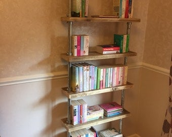 Urban Industrial Galvanised Pipe Scaffold Shelf/ Book Case