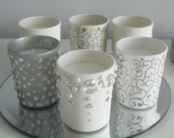 3 X Hand decorated Candle Votives ... Assorted designs