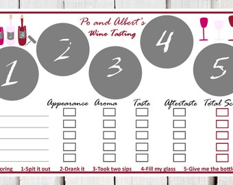 Wine Tasting  placemats, wine tasting party, wine tasting scorecard, wine tasting mats, wine and cheese tasting, wine placemats, wine party