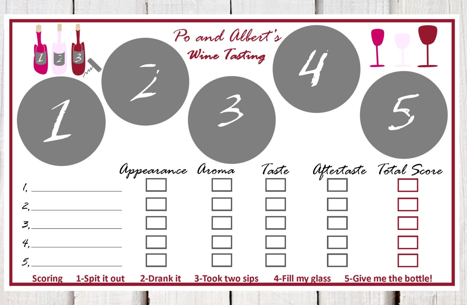 Wine Tasting Place Mats Paper Wine Tasting Placemats