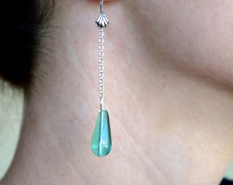 Blue Green Drop Earrings with a Sterling Silver Chain with Sea Foam Glass Drop