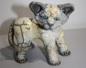 Baby cat céramic raku
