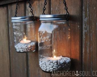 Mason Jar Lanterns Hanging Tea Light Luminaries - Set of 2 - Black Chain - Wide Mouth Mason Jar Style