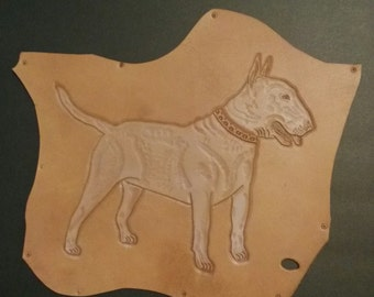 English Bull Terrier. Leather Carving. Wall Art Vintage. Unique. One of a kind. Brown Leather.