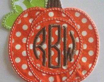 Monogram Pumpkin Iron-On Applique/Pumpkin Applique/ Thanksgiving Applique/Personalized Pumpkin / Fall Pumpkin /Pumpkin Patch