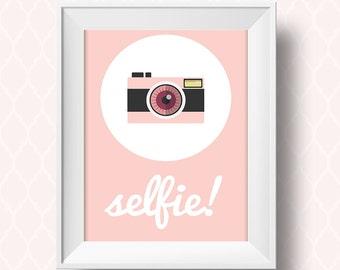 selfie posters, selfie sign, selfie frame, hipster poster, pink bedroom art, retro camera, instant download, digital print, Printable File