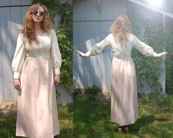 1960s 1970s vintage boho peach rosette gown