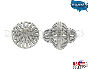 FILIGREE DIAMOND BEAD shape 925 sterling silver with natural single cut diamonds