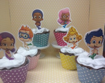 Bubble Guppies Party Cupcake Topper Decorations - Set of 10