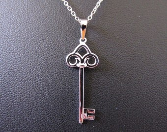 White Gold Rhodium Over Sterling Silver Key Charm Necklace