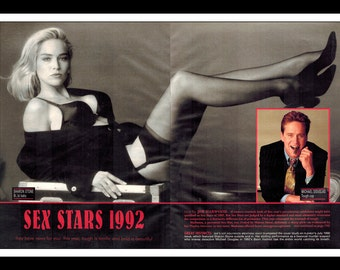 "Celebrity Magazine Print : Michael Douglas Sharon Stone 2 Page Spread Photo Wall Art Decor 16"" x 11"""