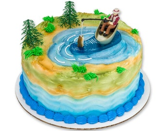 Fisherman With Action Fish Fishing Cake Topper Decoration