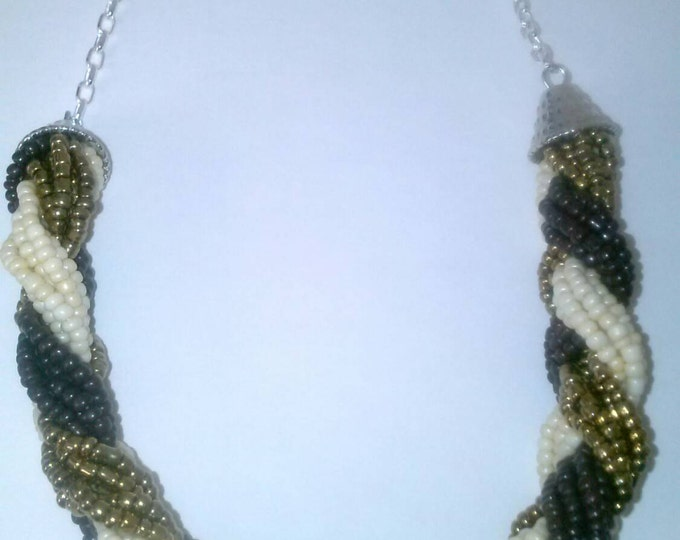 Brown Gold White Cluster Braided Beaded Sliver Chain Necklace