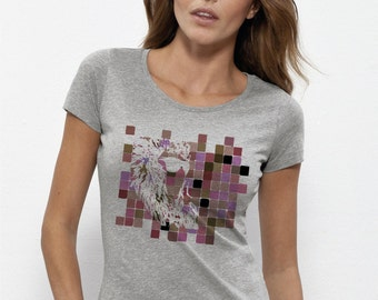 TEE BIO cotton woman - fair trade heather gray - digitally printed display (in the fiber)
