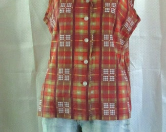 A Womans,Vintage 60s,Sleeveless Plaid ROCKABILLY Plaid Blouse.L(42)