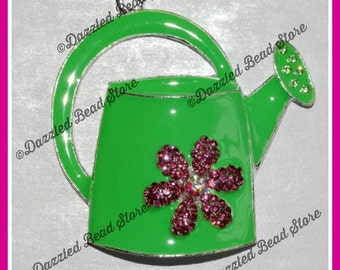 Garden WATERING CAN pendant - 48mm x 46mm for chunky bubblegum necklaces