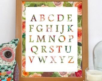 Alphabet Nursery Print, Floral Alphabet, Baby Girl Nursery Decor, Printable Art