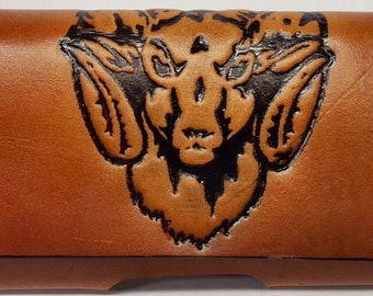 Ram's Head Embossed Leather Cell Phone Case CPC 521