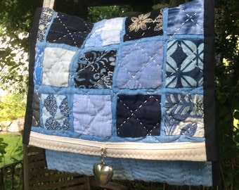 Quilted Patchwork Messenger bag, Blue Patchwork purse