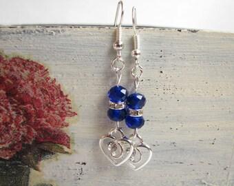 Drop earrings Blue earrings Heart earrings Gift Dangle earrings Simple earrings Mother's day gift Silver earrings Valentina's day gift