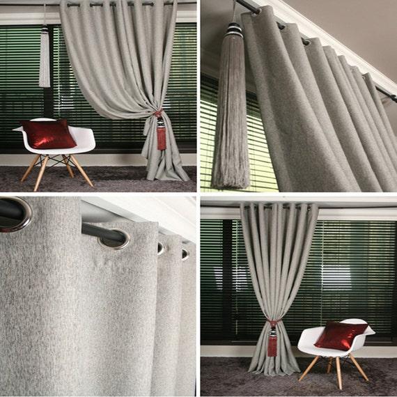 Light Gray Linen Blended Blackout Curtain Drapery By Enapremium