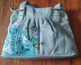 Light green-zip closing-twin handle-handpainted with flowers-upcycled bag.