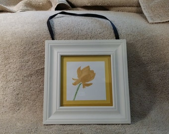 """Hand stamped Lotus Blossom - Yellow tones - Framed - 5 3/4"""" Square Frame"""