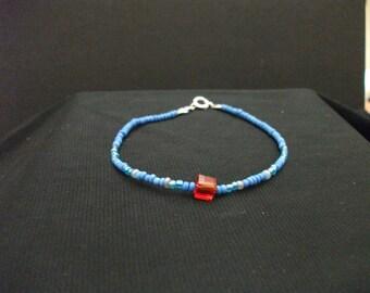 Megaman Inspired Handmade Beaded Bracelet