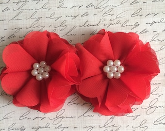 "Set of two 2.5"" Red Chiffon Pearl Flower, Wholesale Flowers, Boutique Supplies, DIY Headband, Wholesale Supplies"