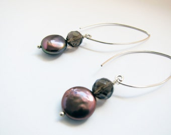 Drop earrings in sterling silver with black freshwater pearl and quartz