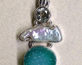 Sterling Silver Green Druzy, Fresh Water Pearl and Green Amethyst Pendant PS-74