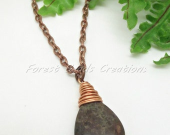 "Jasper Gemstone Wire Wrapped Pendant, Copper Plated 20"" Chain"