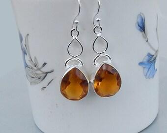 Yellow Citrine Gemstone 925 silver Dangle Earrings Jewelry