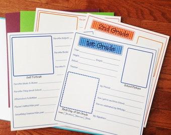 School Memories Scrapbook Pages Templates Kindergarten - 5th Grade Interview Printable Scrapbook Pages Set - Digital Instant Download